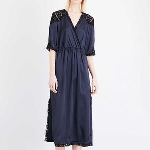 Topshop navy slip dress with black lace detail
